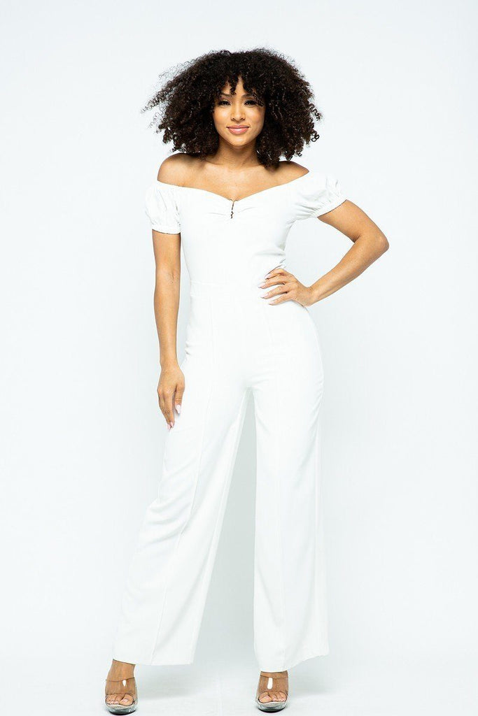 Primetime Looks-Puff Short Sleeve Jumpsuit With U Metal Details And Back Open Zippered
