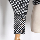 Primetime Looks-Puff-sleeve houndstooth short jacket