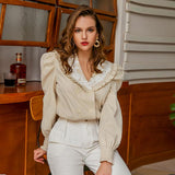 Puff-sleeve lapel short blouse in cream