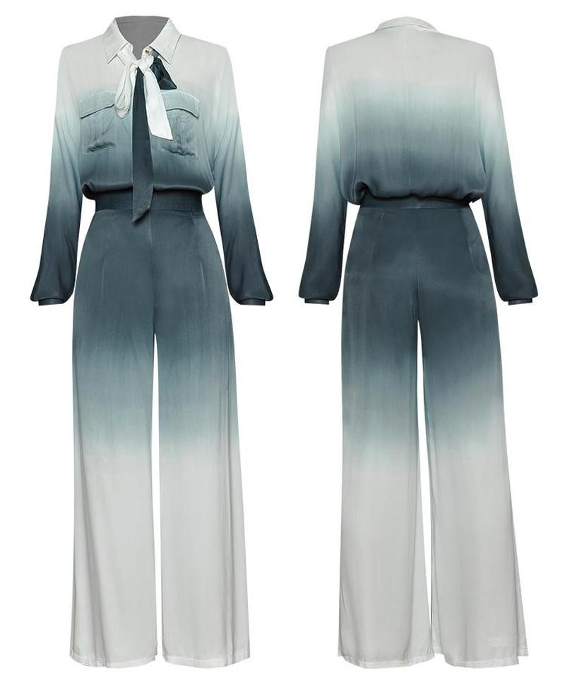 Primetime Looks-Ribbon Pocket breasted Square Pants Suit