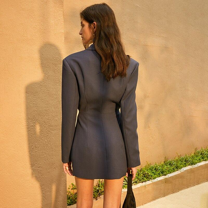 RONNA hollow-out lapel mini dress