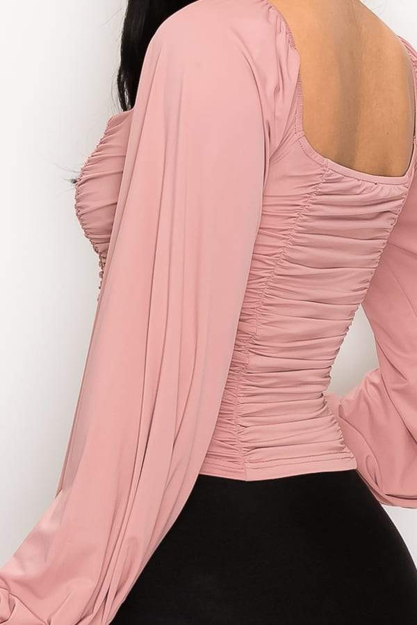 Ruched Sweetheart Neck Top