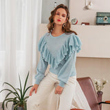 Ruffled knitted sweater in baby blue
