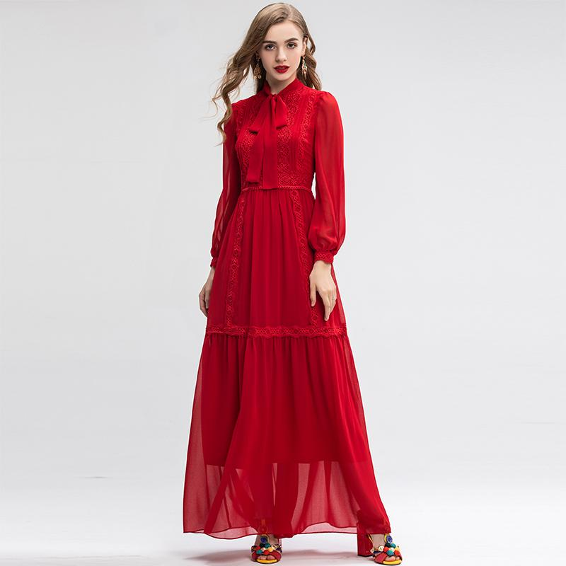 SCARLETT Bowknot Embroidery Maxi Dress