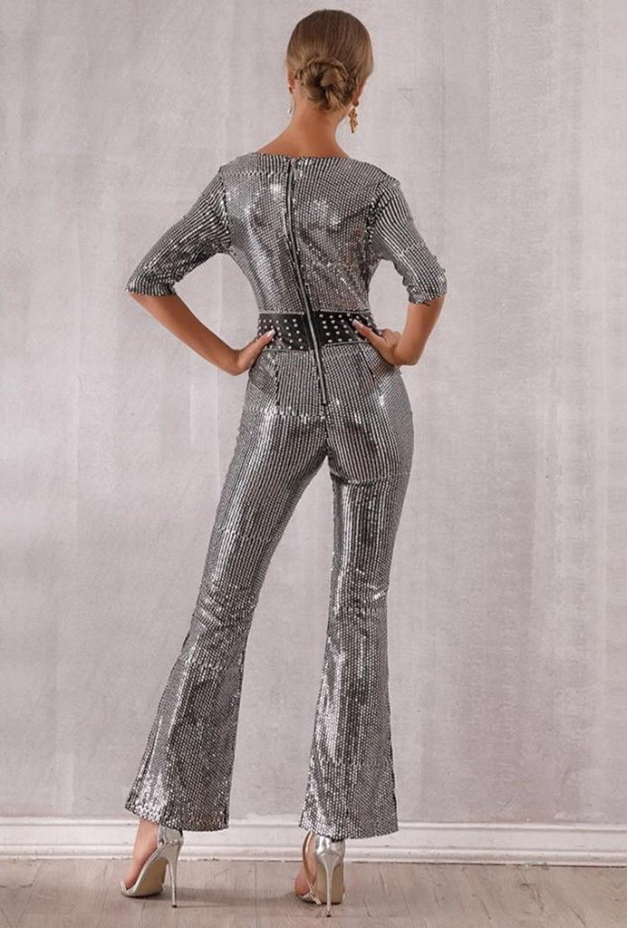 Primetime Looks-Silver sequined V-neck party jumpsuit