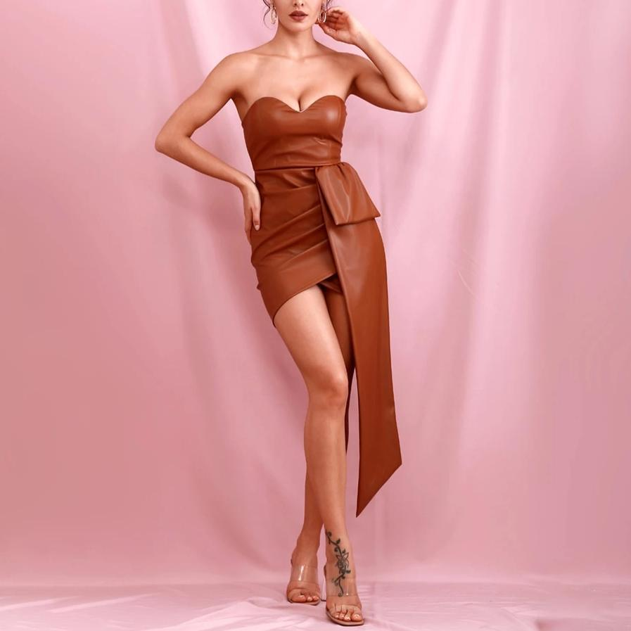 SILVIA bandeau mini dress in brown