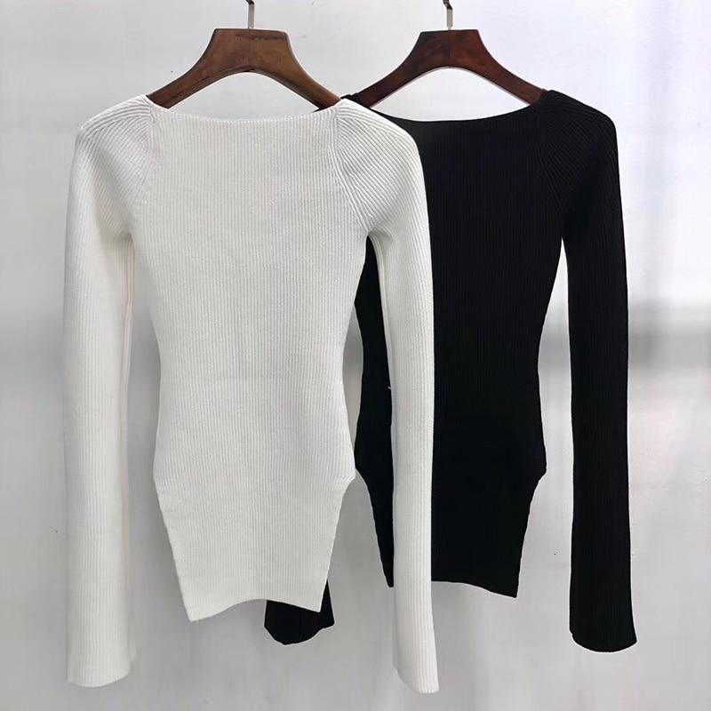 Square collar knitted pullover