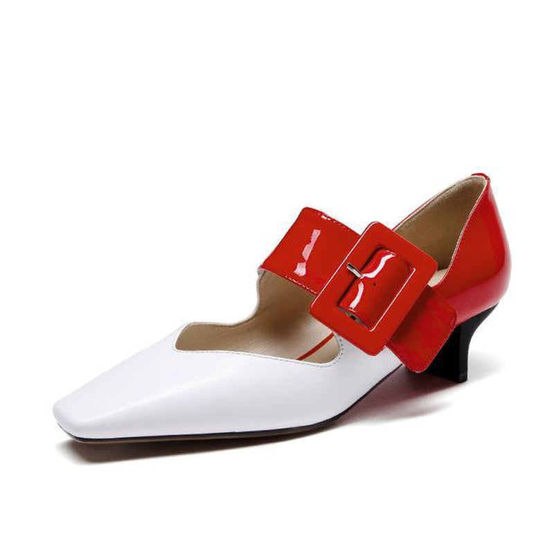 Square toe low-heel Mary Jane shoes