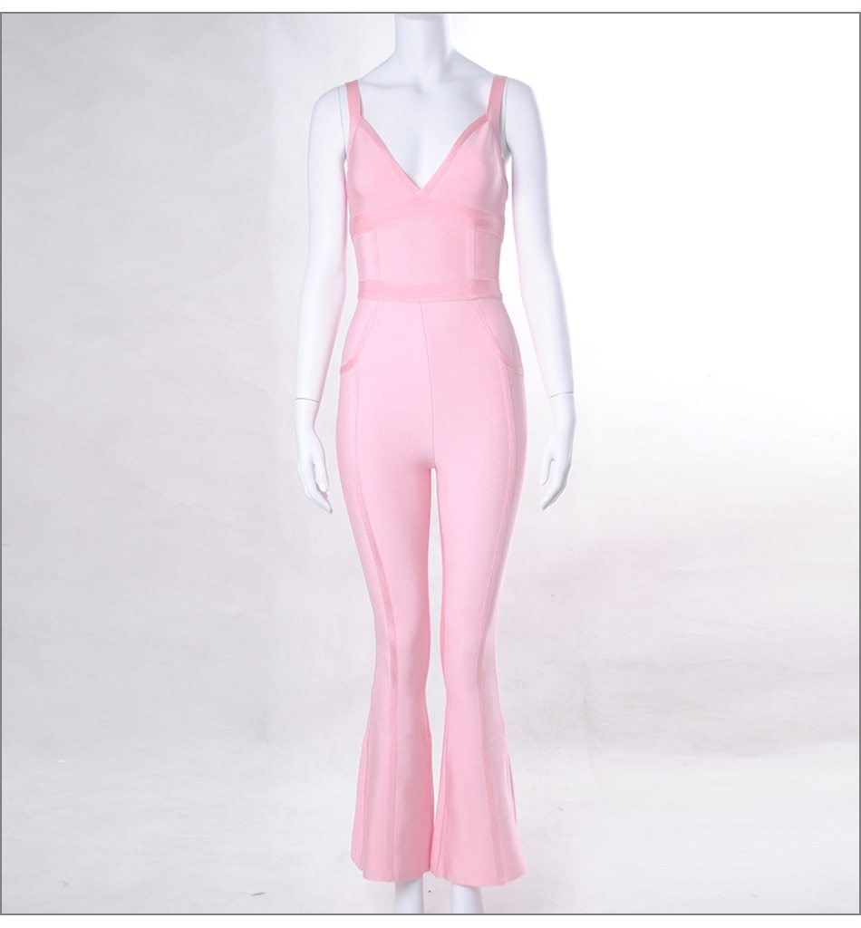 Primetime Looks-Strapped party jumpsuit in pink