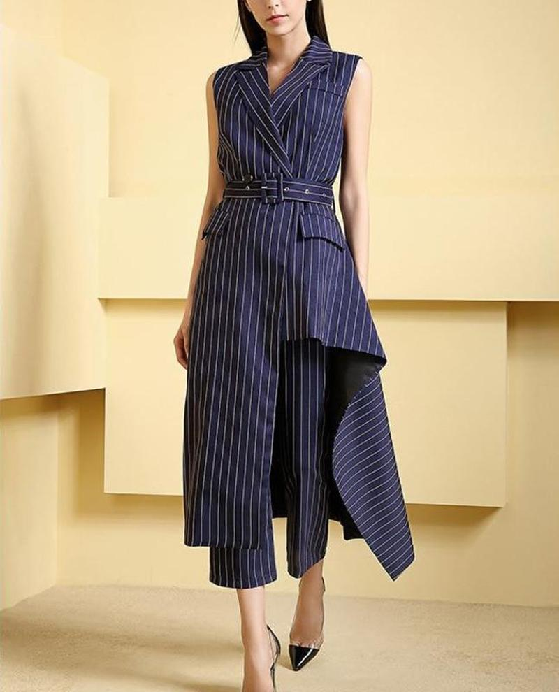 Primetime Looks-Striped pants suit with asymmetric jacket