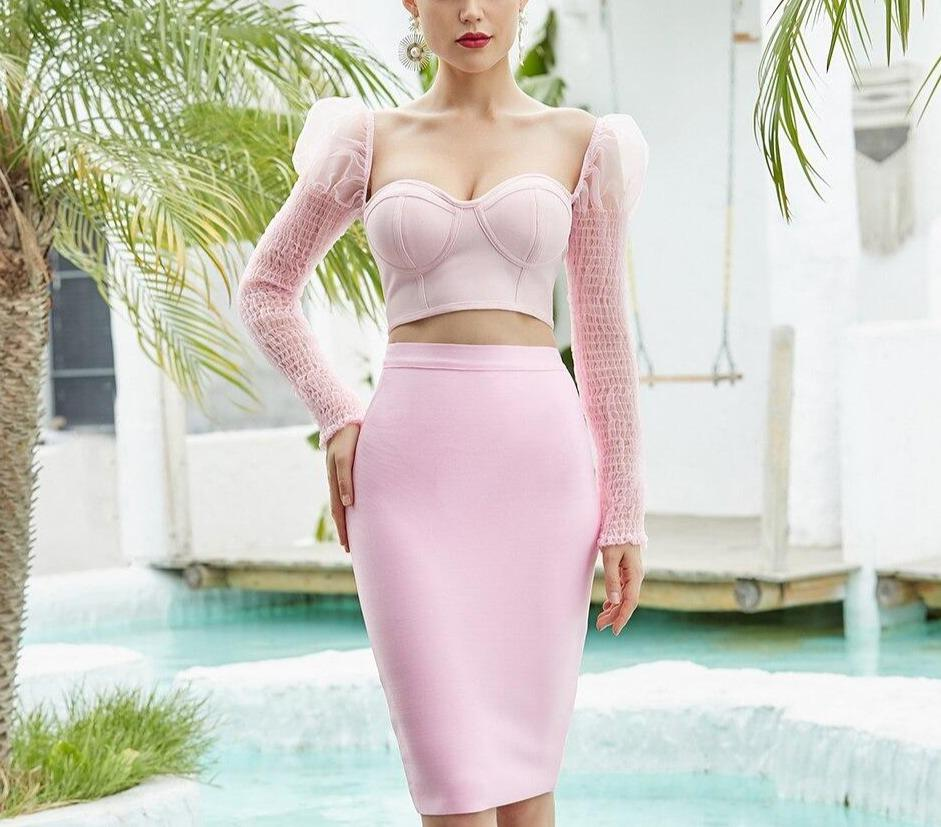 Sweetheart top and midi skirt in pink