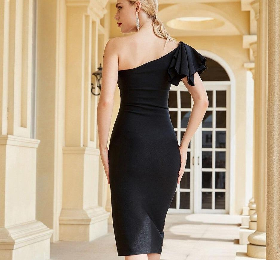 TESSA asymmetric slit black dress