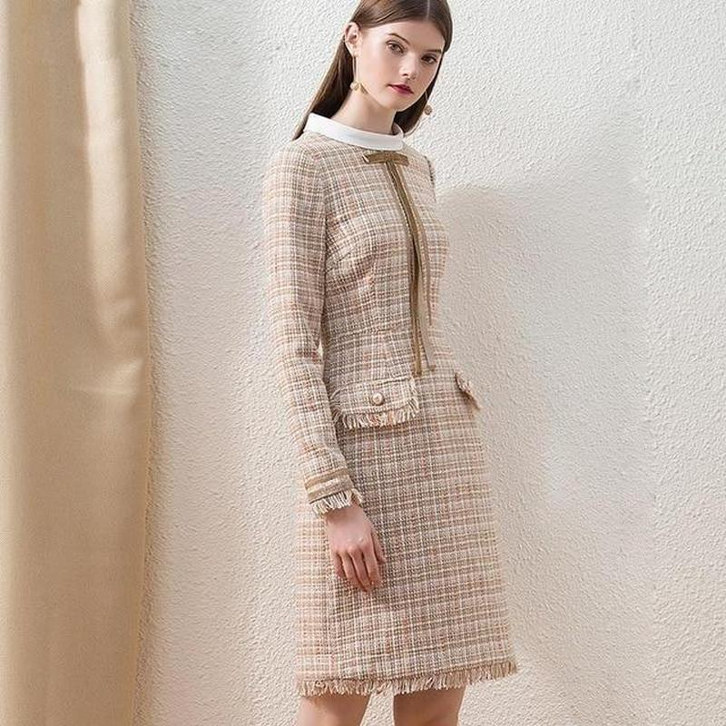 Primetime Looks-Tweed plaid fringe skirt suit