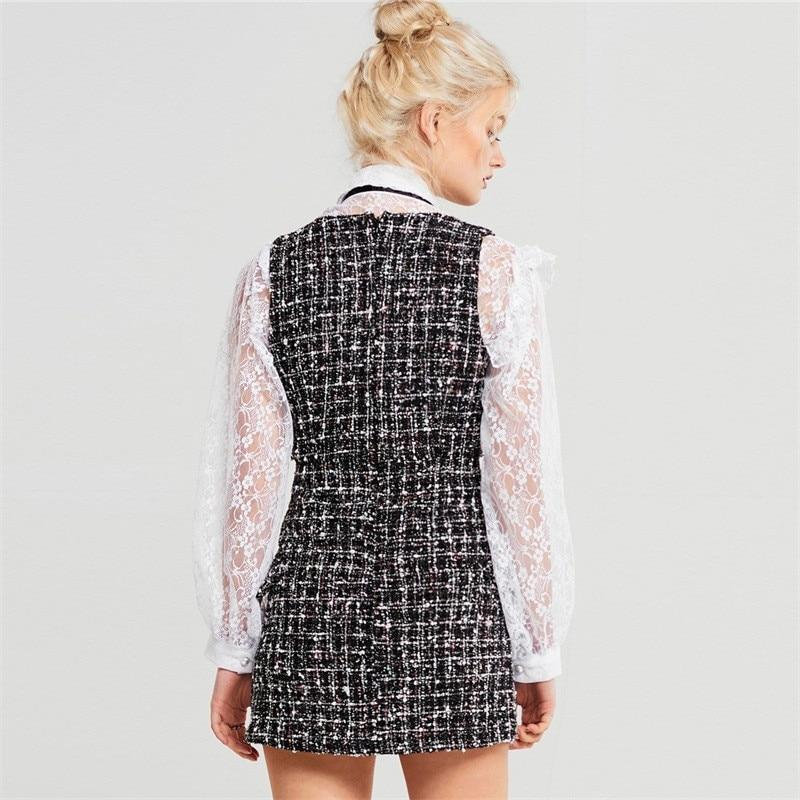 Primetime Looks-Tweed plaid mini dress and white lace shirt suit