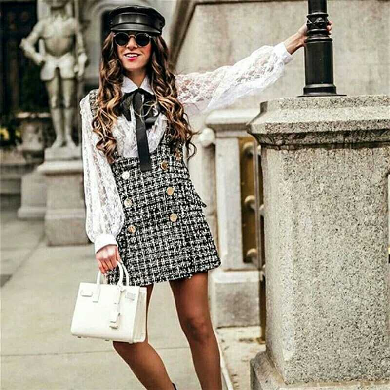 plaid houndstooth doll dress and lantern-sleeve lace blouse 2-piece-set