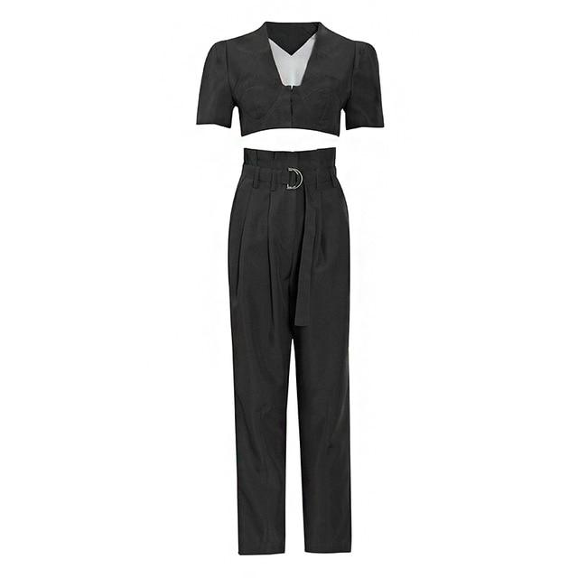 Primetime Looks-V-Neck Croptop w/ Highwaist Bowknot Pants In Set