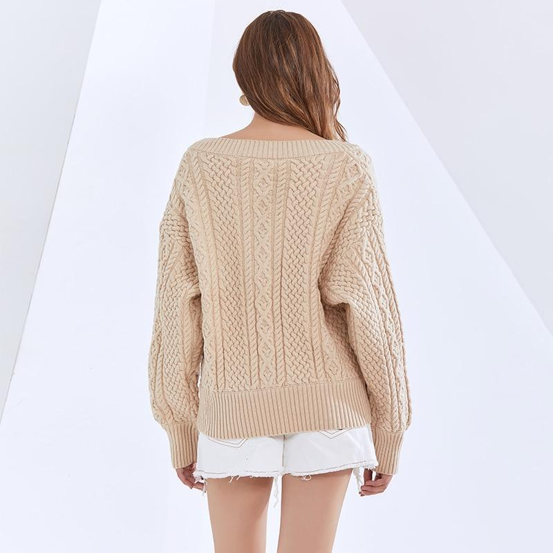 V-neck knitted loose pullover