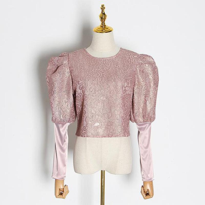 Vintagy Puff-sleeve top in colors
