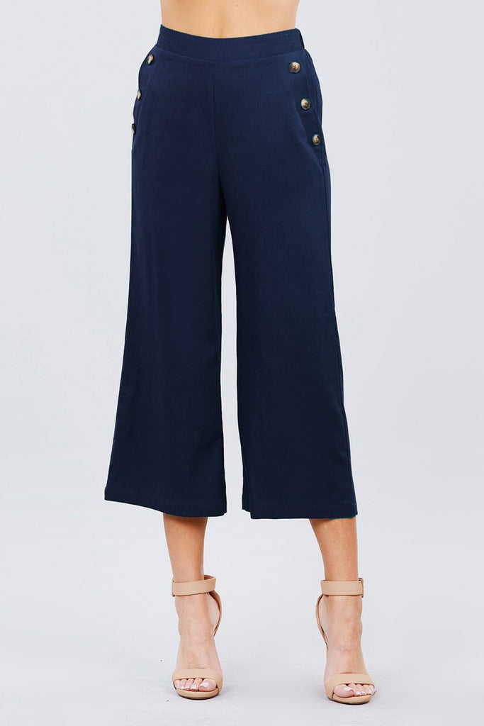 Wide Linen Pants with Button Trim