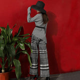 Primetime Looks-Wool-blend plaid culottes and top set