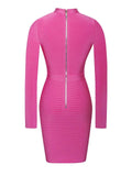 Jordan cut-out long-sleeved bodycon mini dress in hot pink