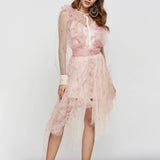 Sevilla ruffled mesh mini dress in pink