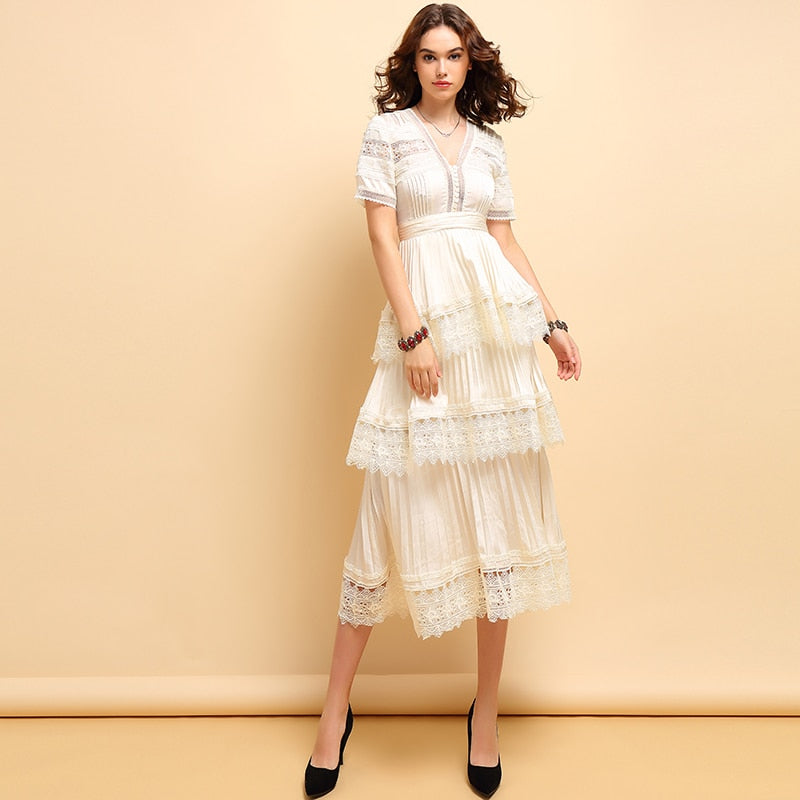 Lombardi white lace midi dress