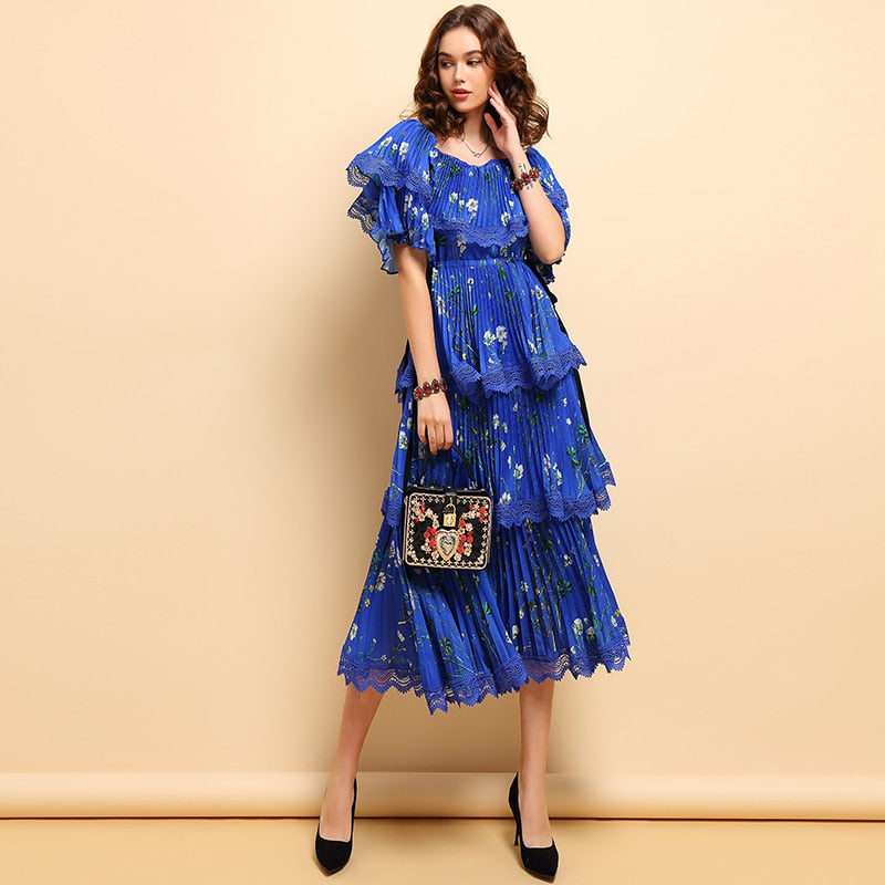 Fairy deep blue ruffled midi dress