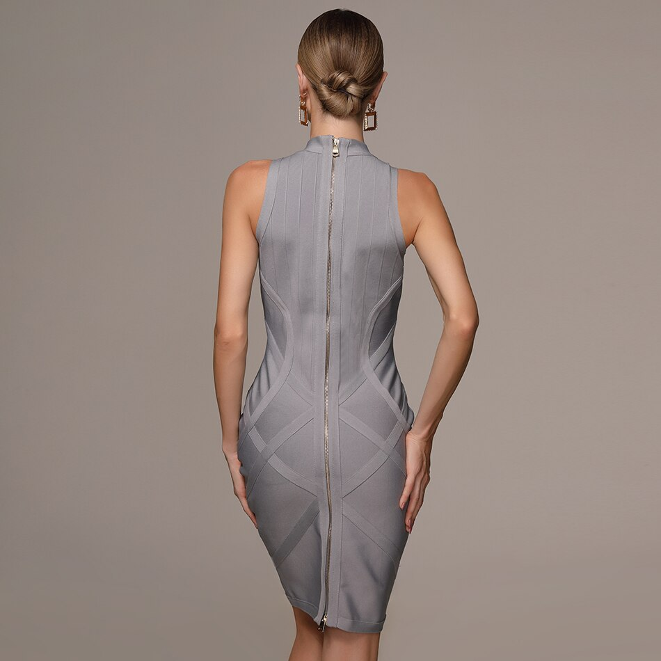 Turtleneck sleeveless bandage mini dress in gray