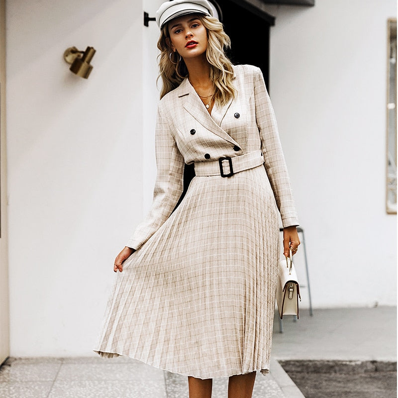 Pleated belted maxi plaid dress