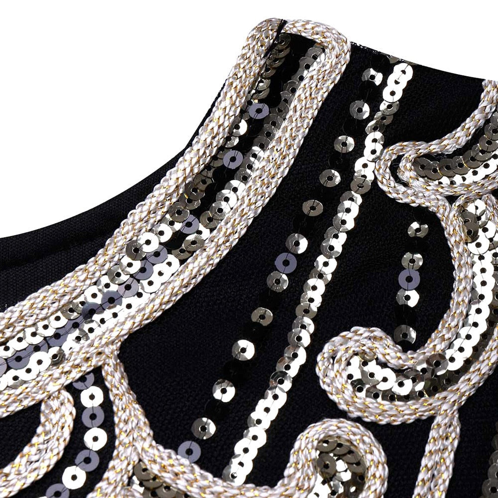 Claric  sequined appliqued black and white mini dress