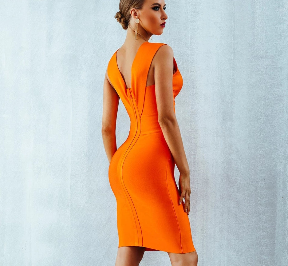 Bodycon midi dress in orange