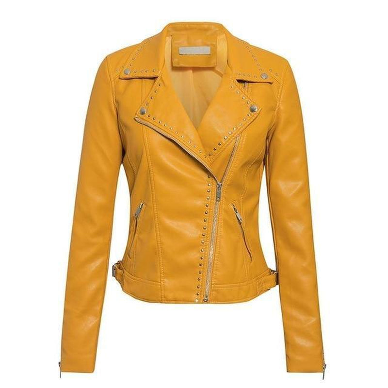 Faux leather biker jacket in colors