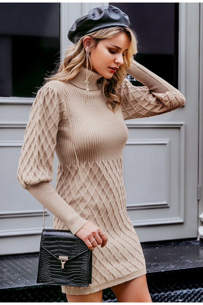 Lantern sleeve turtleneck sweater dress