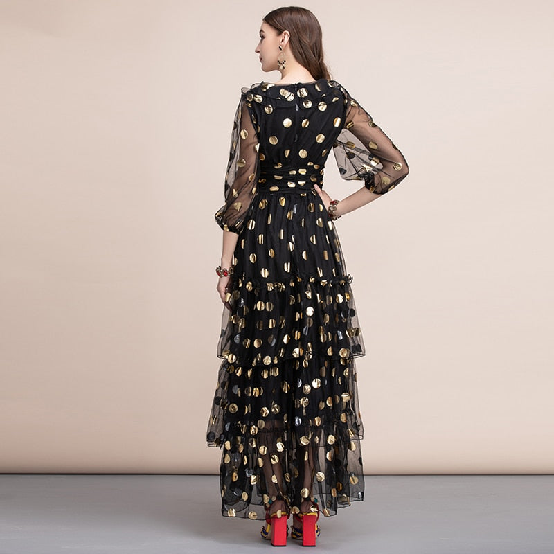 Golden Polka dot maxi mesh dress
