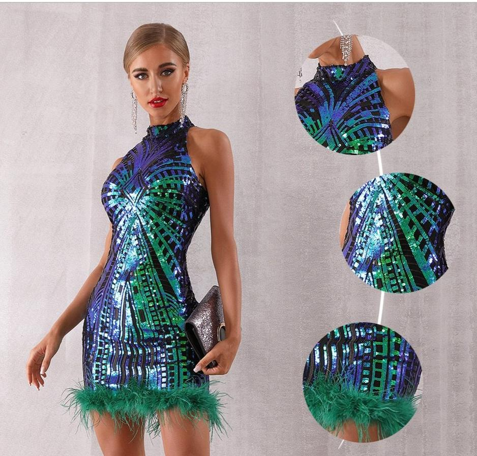 Sequinned halter mini dress with feathers