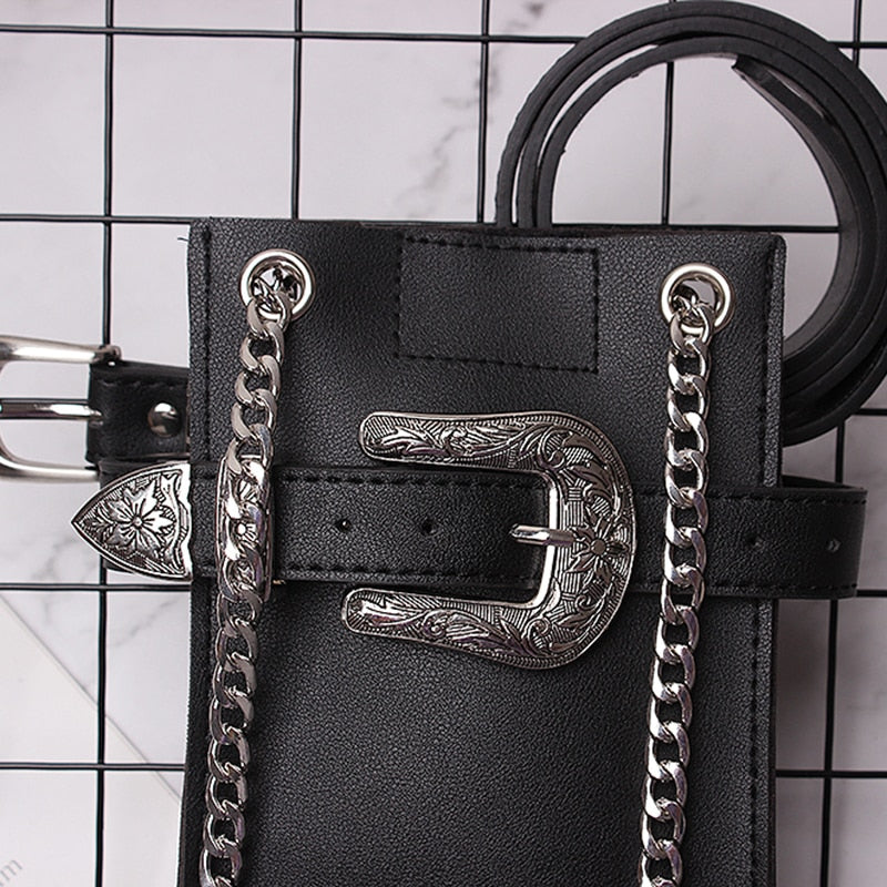 Buckled Mini Purse On A Belt