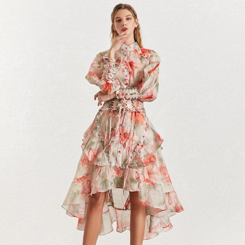 Floral ruffled midi dress with stand collar