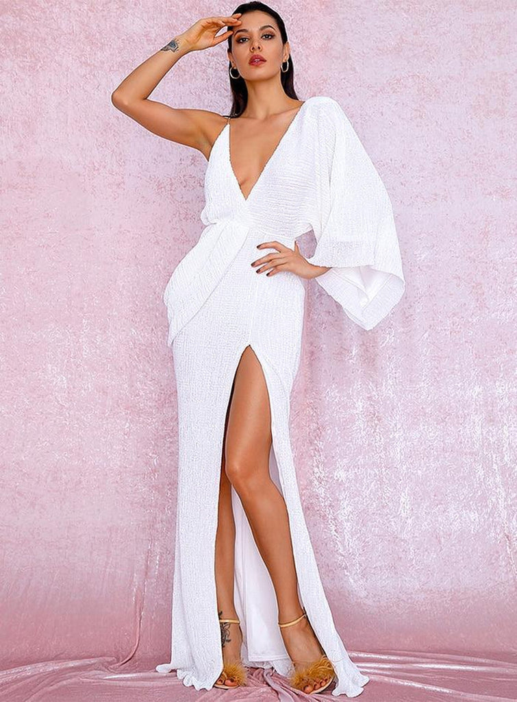 Snow White one-sleeve slit gown