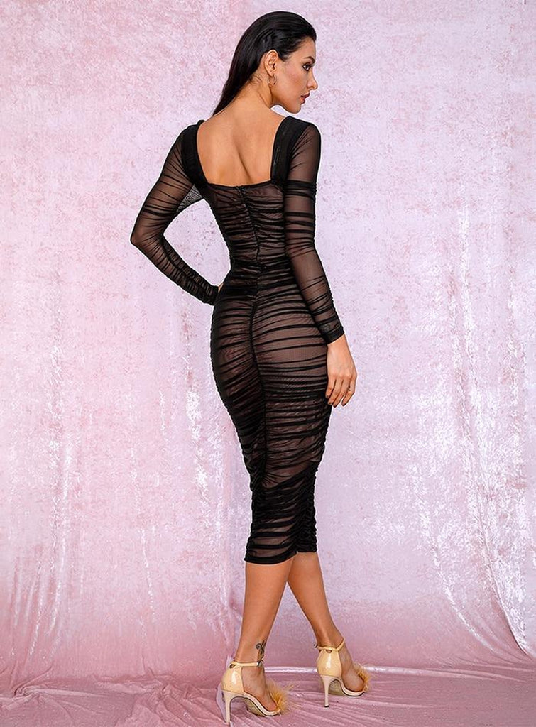 MALENA ruched mesh midi dress