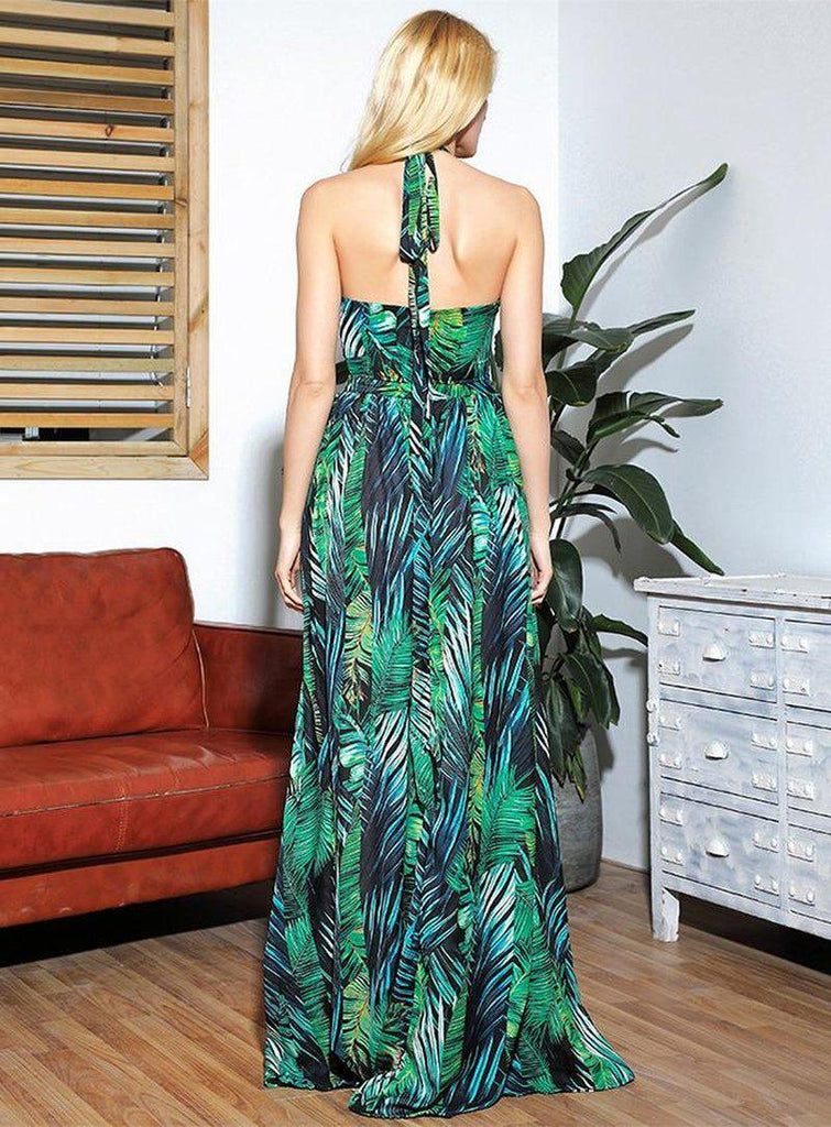 Leaf print hollow-out halter gown
