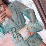 Belted organza tunic with feathers