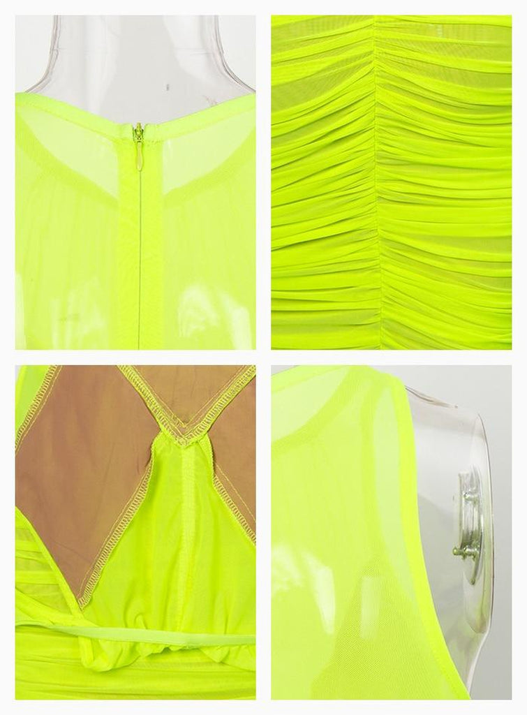 Linda halter neon green draped dress