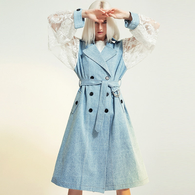 Lace-sleeve denim trench coat