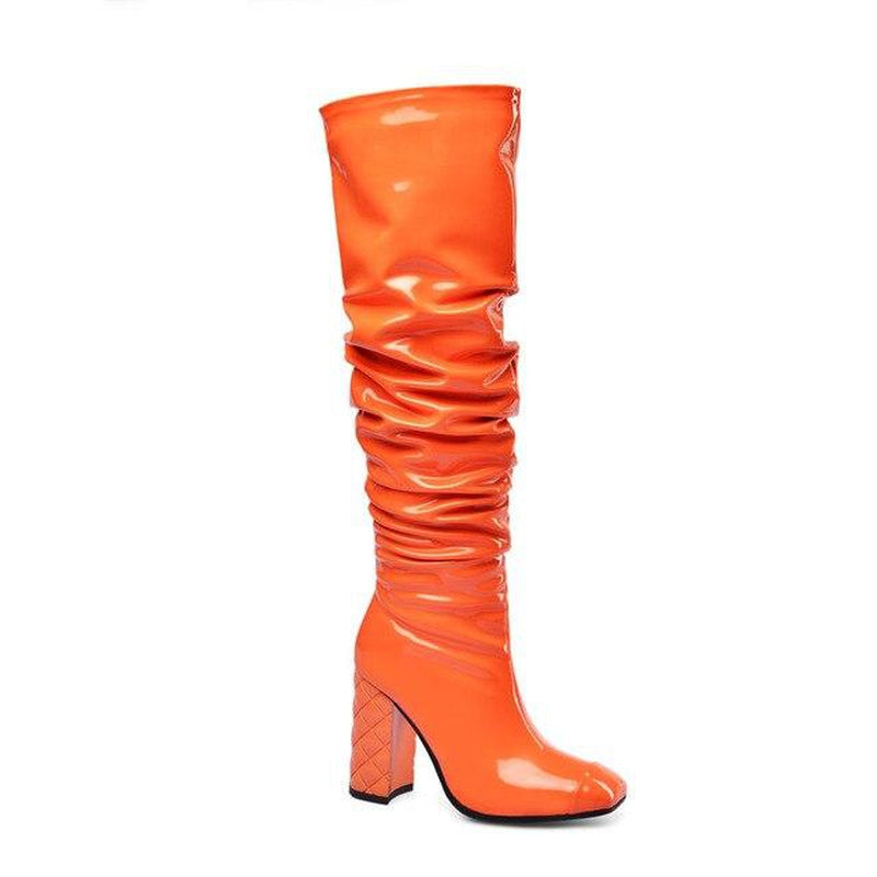 Square-toe knee-high draped orange boots
