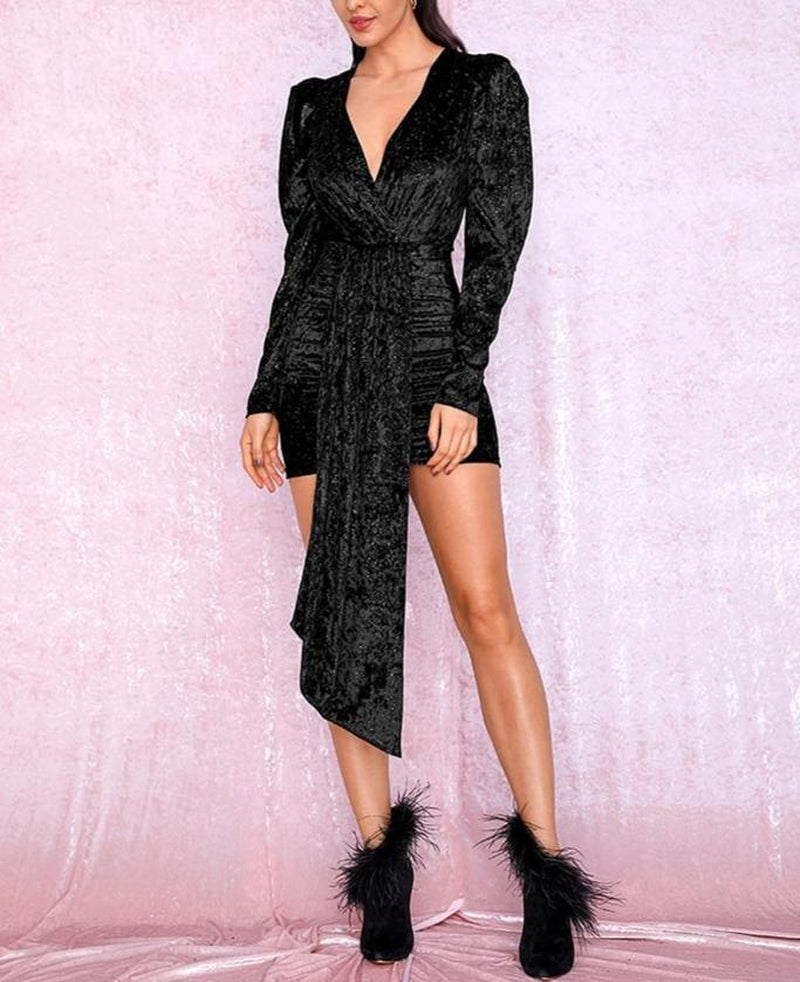 Black velvet shimmery mini dress with ribbon-mini dress-Primetime Looks