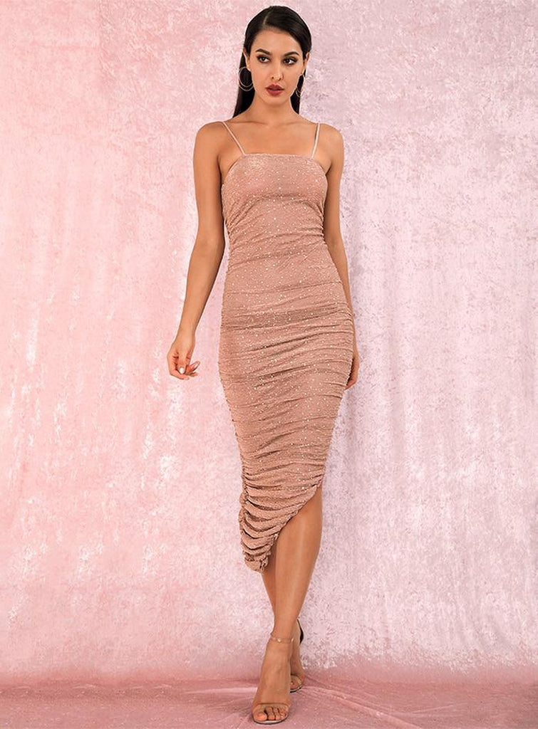 Spaghetti strap ruched sequined midi dress