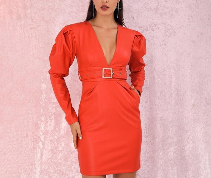 Major V-neck belted orange midi dress