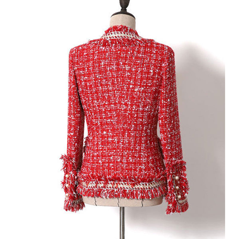 Roccoli tweed double-breasted jacket in red