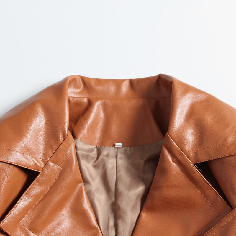 Pleated belted faux leather coat